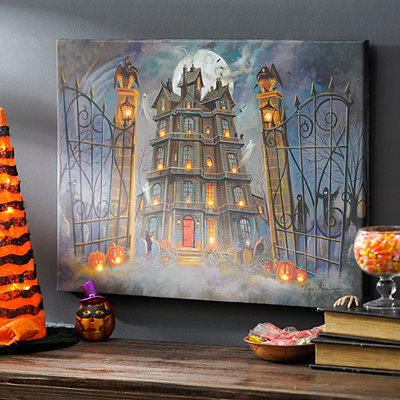 Spooky Haunted House LED Canvas Art Print