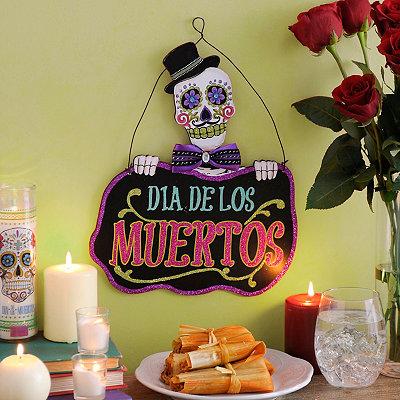 Dia de los Muertos Skull Head Wall Plaque