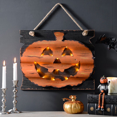 Metal Jack O' Lantern LED Wall Plaque