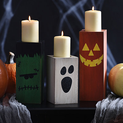 Halloween Wooden Candle Holders, Set of 3