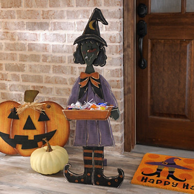 Smiling Wooden Witch Easel with Candy Tray