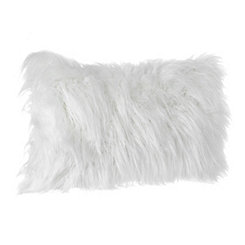 White Faux Fur Accent Pillow
