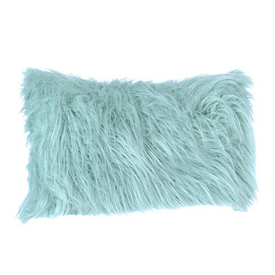 Aqua Faux Fur Accent Pillow