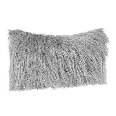 Gray Faux Fur Accent Pillow
