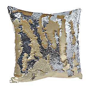Silver and Gold Mermaid Sequin Pillow