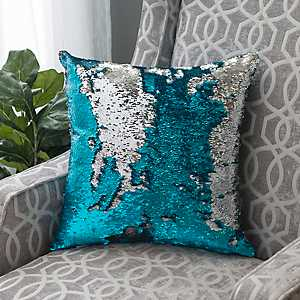 Turquoise and Silver Mermaid Sequin Pillow
