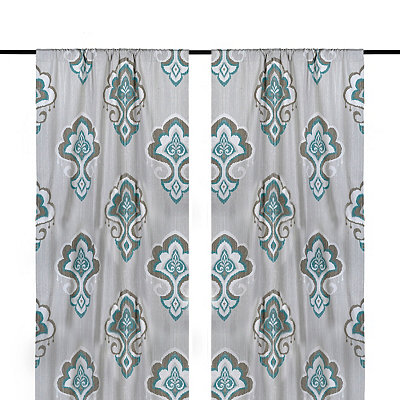 Aqua Mandana Curtain Panel Set, 84 in.