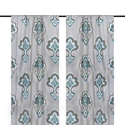 Aqua Mandana Curtain Panel Set, 84 in.