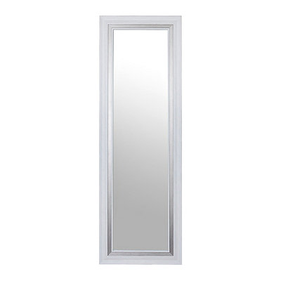 White and Silver Over-the-Door Mirror