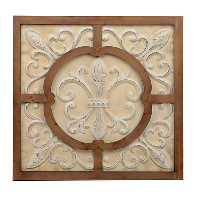 Framed Fleur-de-lis Tile Wood and Metal Plaque