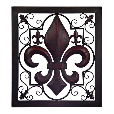 Bronze and Red Ornate Fleur-de-Lis Metal Plaque