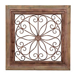 Ornate Rojas Wood and Metal Plaque