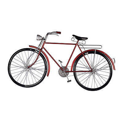 Red Retro Bicycle Metal Plaque