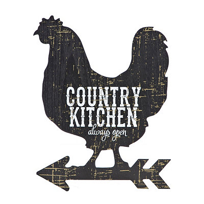 Country Kitchen Rooster Wooden Plaque