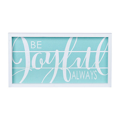 Blue Be Joyful Always Wood Plank Plaque