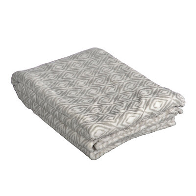 Brushed Gray Ikat Oversized Throw Blanket