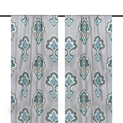 Aqua Mandana Curtain Panel Set, 96 in.
