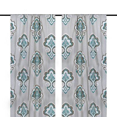 Aqua Mandana Curtain Panel Set, 96 in.