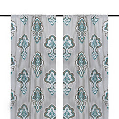 Aqua Mandana Curtain Panel Set, 108 in.