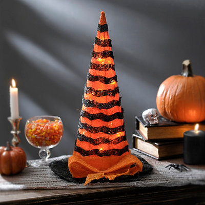 Pre-Lit Orange Striped Witch Hat