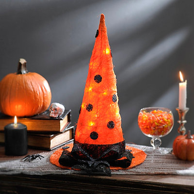 Pre-Lit Orange Polka Dot Witch Hat