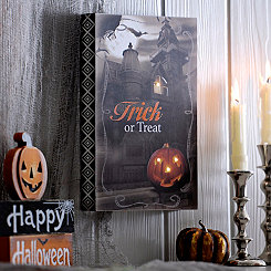 Trick or Treat Spooky Block LED Wall Plaque