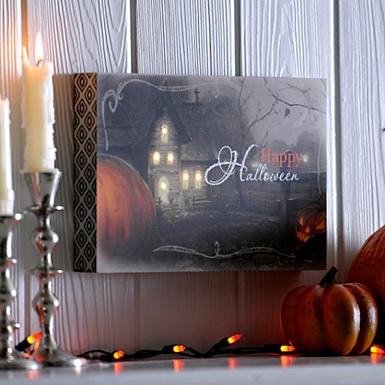 happy halloween spooky block led wall plaque