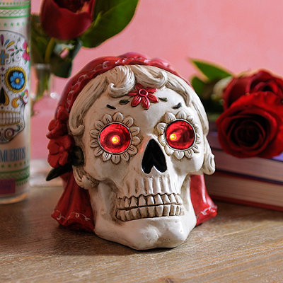 Day of the Dead Lady LED Sugar Skull