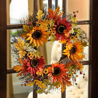 Sunflowers and Pine Cones Wreath