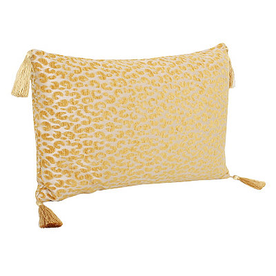 Yellow Cheetah Pillow with Tassels
