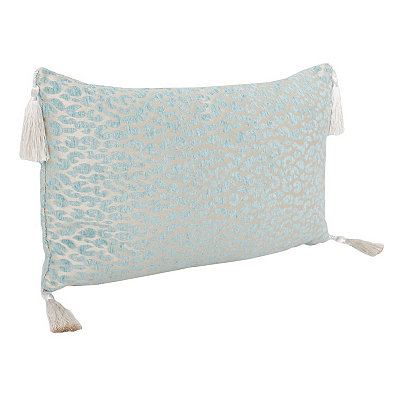 Light Blue Cheetah Pillow with Tassels