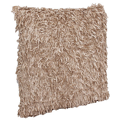 Tan Falling Fringe Pillow