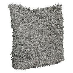 Gray Falling Fringe Pillow
