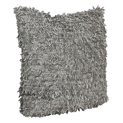 Gray Falling Fringe Pillow