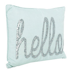 Blue Hello Sequin Script Pillow