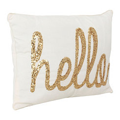 White Hello Sequin Script Pillow