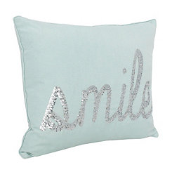 Blue Smile Sequin Script Pillow