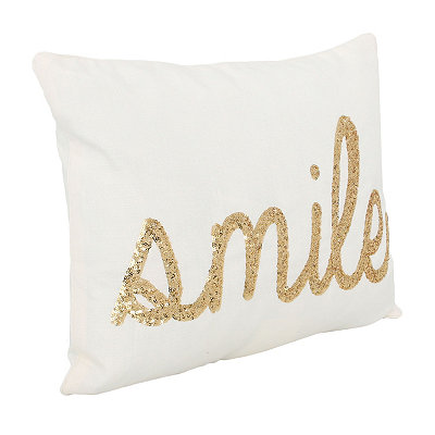 White Smile Sequin Script Pillow