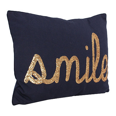 Navy Smile Sequin Script Pillow