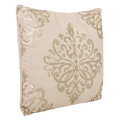 Tan Quinn Sequin Trellis Pillow