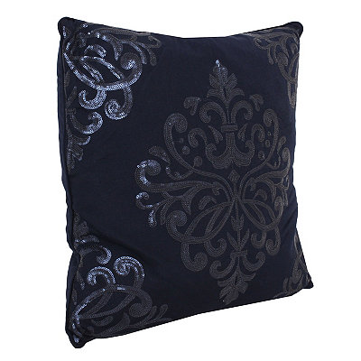 Navy Blue Quinn Sequin Trellis Pillow
