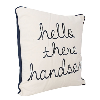 Navy Hello Handsome Embroidered Pillow