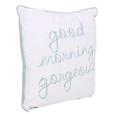 Blue Good Morning Gorgeous Embroidered Pillow