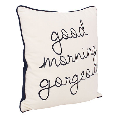Navy Good Morning Gorgeous Embroidered Pillow