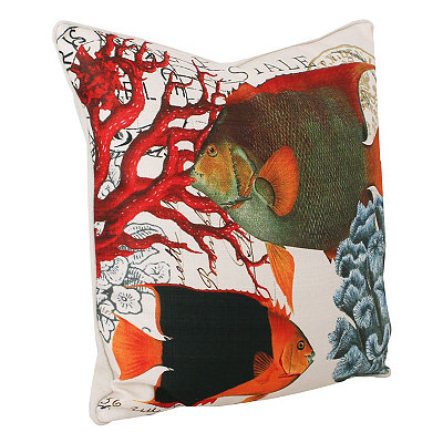 French Coastal Fish Pillow
