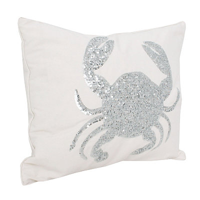 White Sequin Crab Pillow