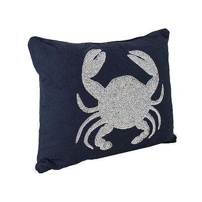 Navy Sequin Crab Pillow