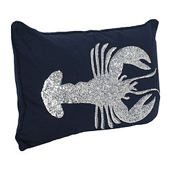 Navy Sequin Lobster Pillow