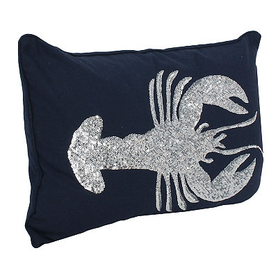 Navy Sequin Lobster Pillow