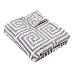 Kelly Greek Key Fleece Throw Blanket